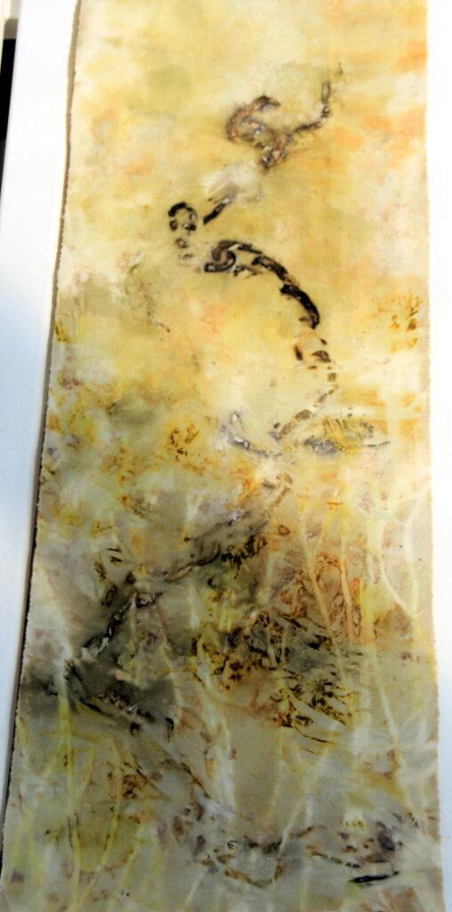 taimetrükk; loodusvärvid; ecoprinting; dyeing